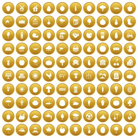 100 productiveness icons set in gold circle isolated on white vector illustration Illustration