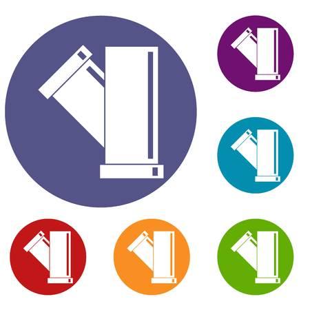 sewerage: Tee fitting pipe icons set Illustration