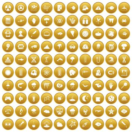 100 research icons set gold Illustration