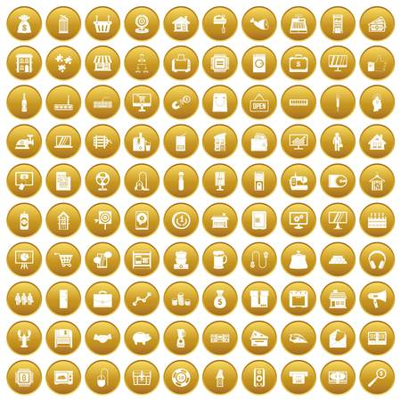 100 sales icons set gold