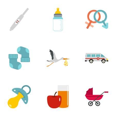 Baby ambulance icons set, flat style Illustration
