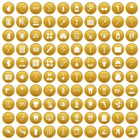 100 pharmacy icons set gold