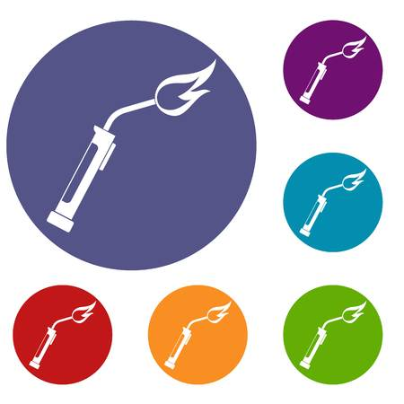Welding torch icons set in flat circle red, blue and green color for web Illustration