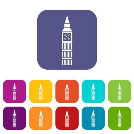 english culture: Big Ben clock icons set Illustration