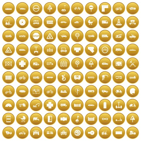 100 road icons set gold