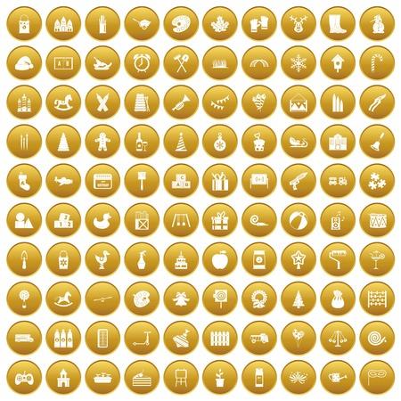 100 preschool education icons set gold Illustration