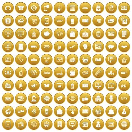 100 shopping icons set gold Illustration