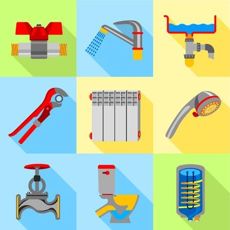 Type of plumbing work icons set, flat style Illustration