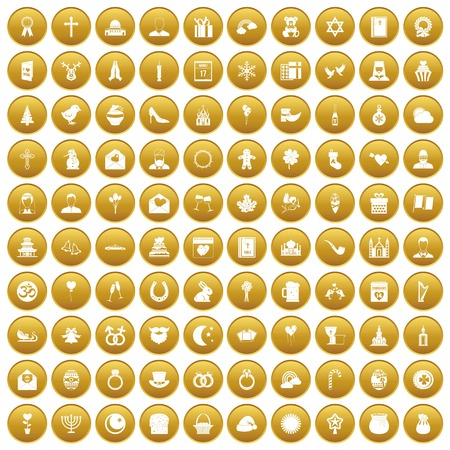 100 religious festival icons set gold