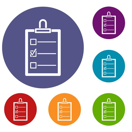 checklist: To do list icons set in flat circle red, blue and green color for web