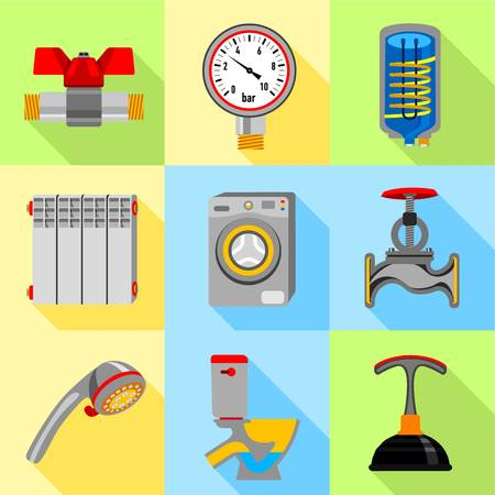 Plumbing service icons set. Flat set of 9 plumbing service vector icons for web with long shadow
