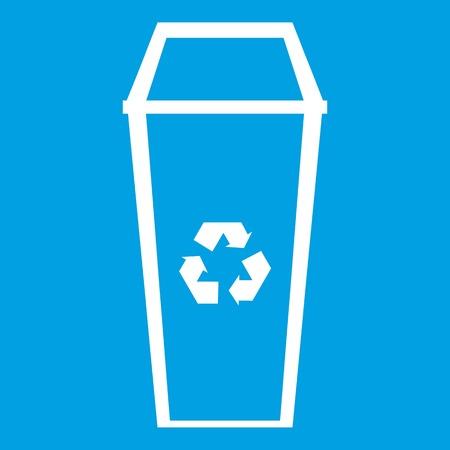 refuse: Trash can icon white isolated on blue background vector illustration Illustration