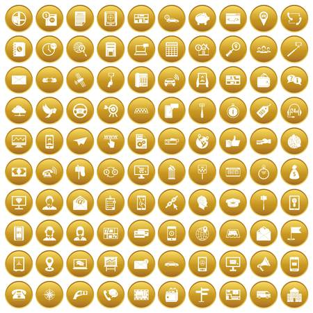 100 smartphone icons set gold Illustration