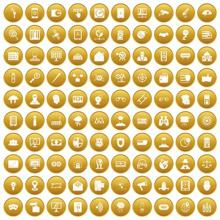 100 security icons set gold