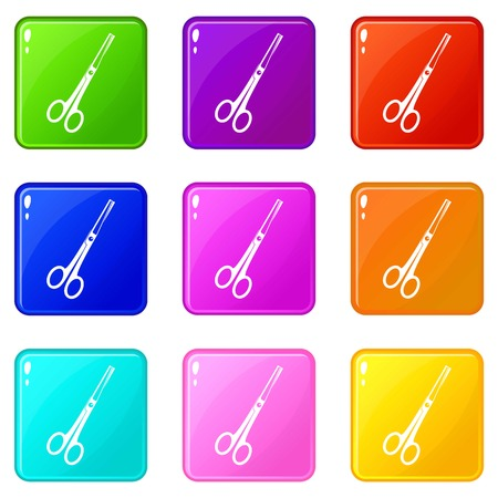 Steel scissors icons of 9 color set isolated vector illustration