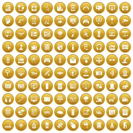 100 software icons set gold