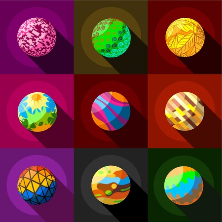 Fantasy planets icons set. Flat set of 9 fantasy planets vector icons for web wi