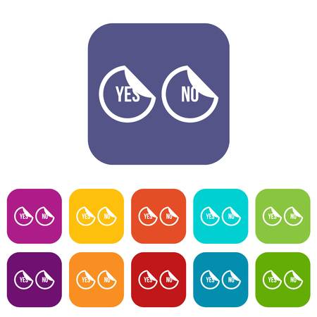 Yes and no buttons icons set vector illustration in flat style in colors red, blue, green, and other Illustration
