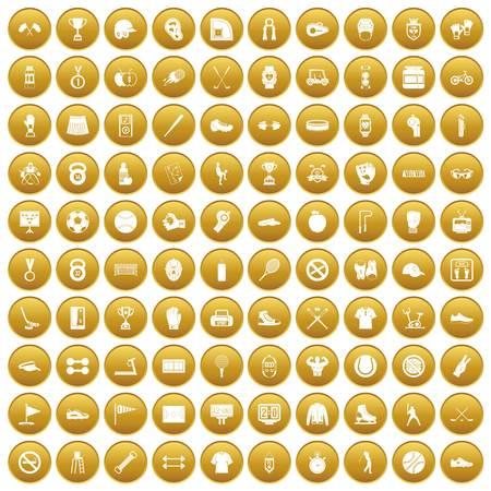 100 sport equipment icons set gold Illustration