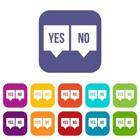 Signs of yes and no icons set vector illustration in flat style in colors red, blue, green, and other Stock Vector - 82797594