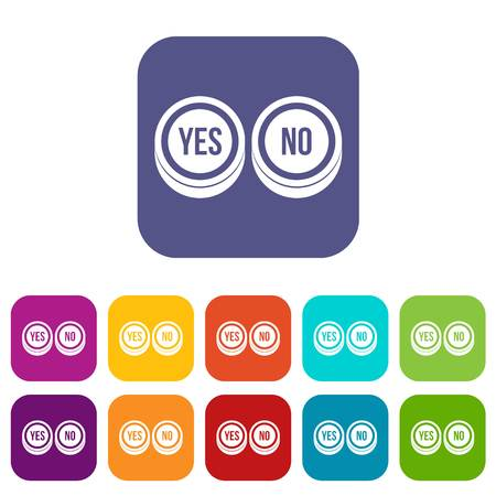 validation: Round signs yes and no icons set vector illustration in flat style in colors red, blue, green, and other