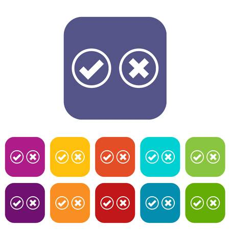 Tick and cross selection icons set vector illustration in flat style in colors red, blue, green, and other