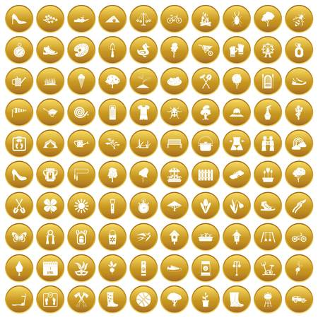100 spring icons set gold Illustration
