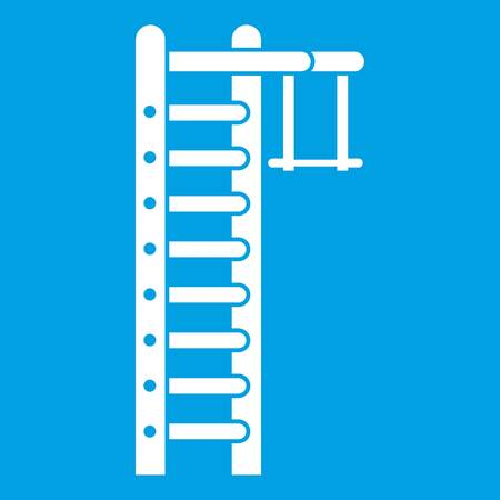 Swedish ladder icon white isolated on blue background vector illustration