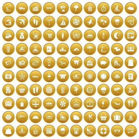 100 seaside resort icons set gold