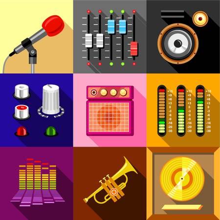 electronic music: Studio equipment icons set. Flat set of 9 studio equipment vector icons for web with long shadow