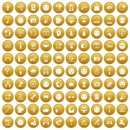100 social media icons set gold Ilustração