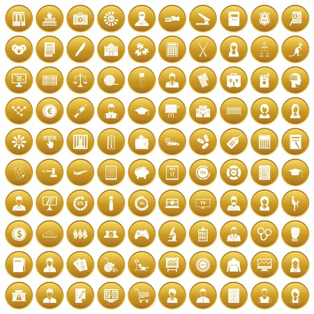 100 statistic data icons set gold