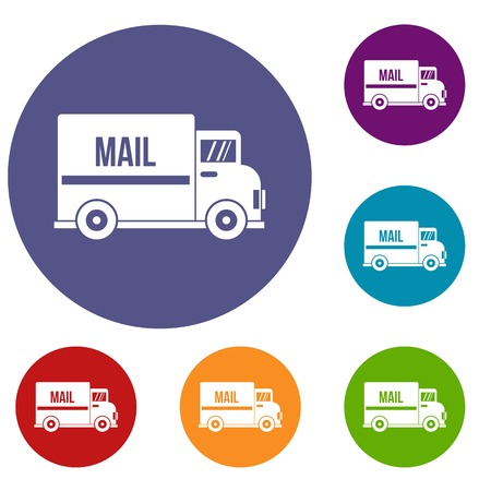 moving truck: Mail truck icons set