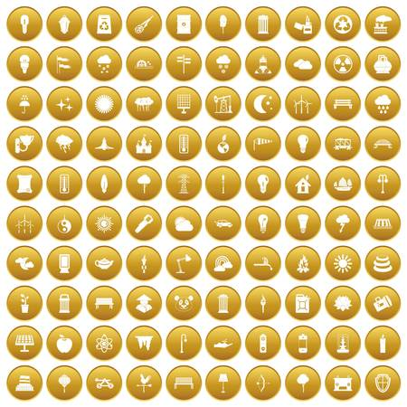 100 street lighting icons set gold