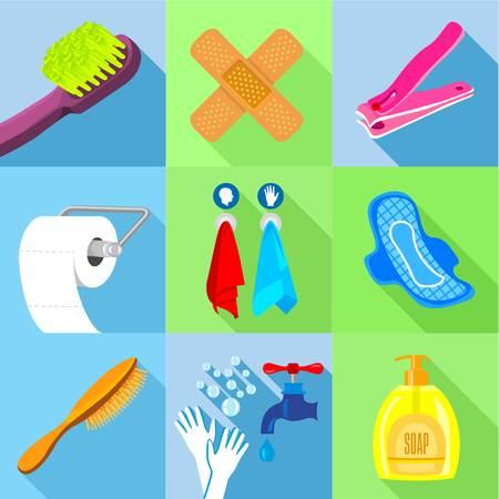 Bath equipment icons set, flat style 向量圖像