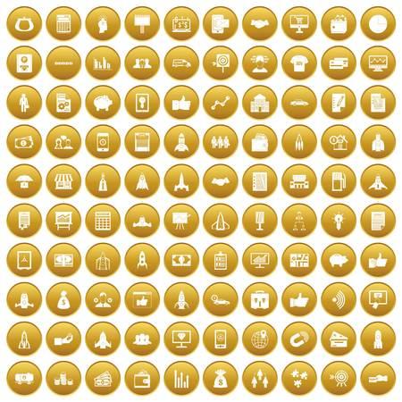 100 startup icons set gold