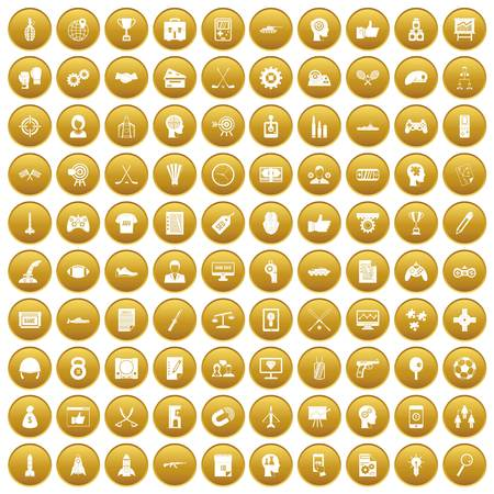 100 strategy icons set gold