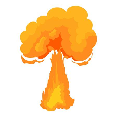 atomic bomb: Terrible explosion icon, cartoon style