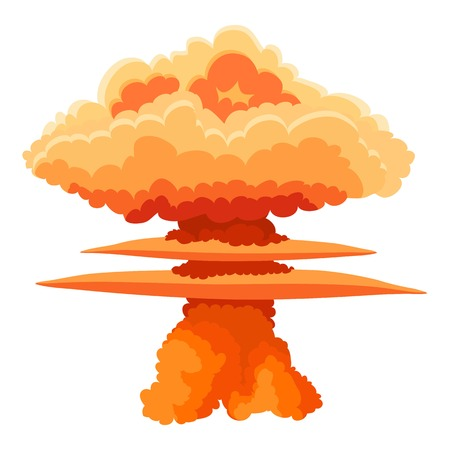Nuclear explosion icon, cartoon style Illustration