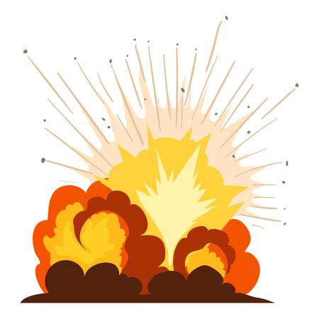 Fire explosion icon, cartoon style