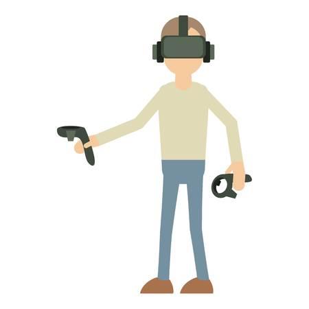 virtual reality simulator: Man with vr manipulator icon, cartoon style Illustration