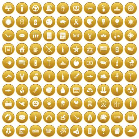 100 summer holidays icons set gold