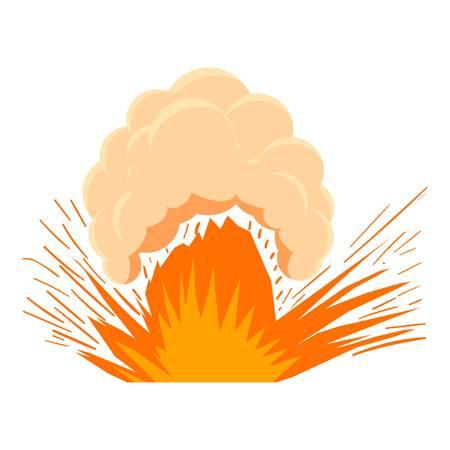nuclear bomb: High powered explosion icon, cartoon style