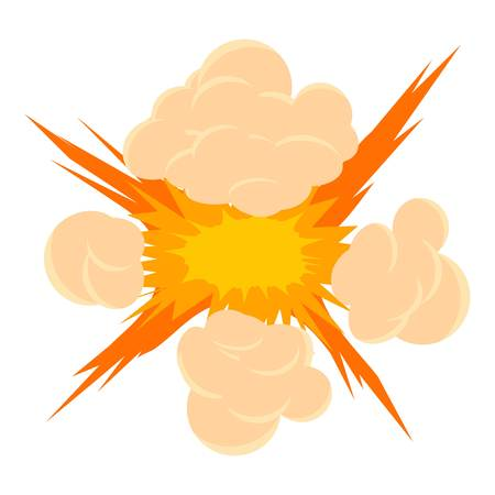 atomic bomb: Bomb explosion icon, cartoon style