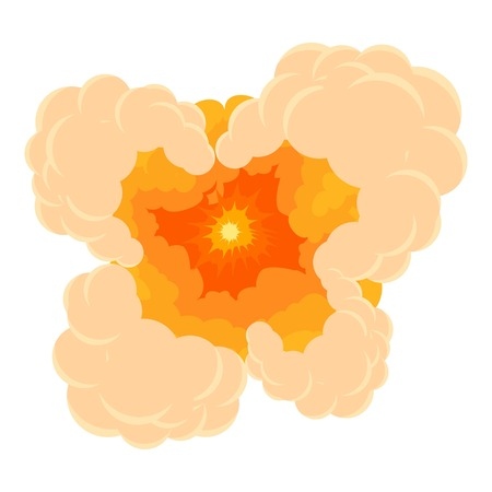 nuclear bomb: Cloudy explosion icon, cartoon style Illustration