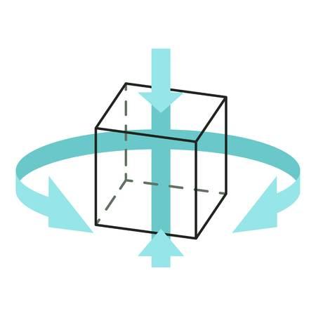 Three d technology icon, cartoon style