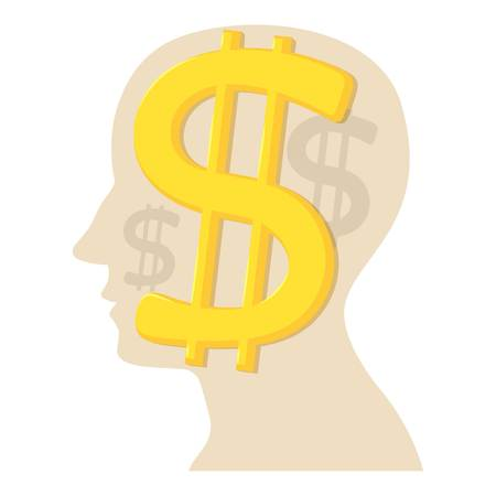science symbols metaphors: Head with dollar icon, cartoon style