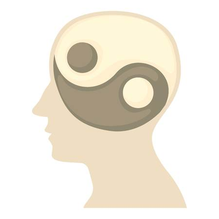 Head with yin yang symbol icon, cartoon style