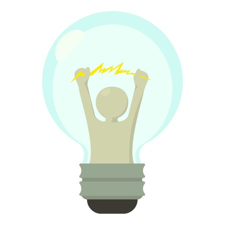 Smart light bulb icon, cartoon style
