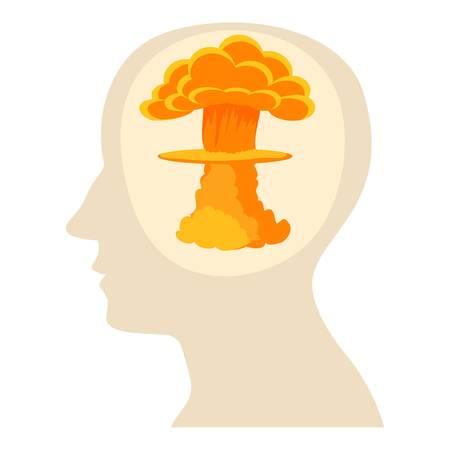 science symbols metaphors: Head with explosion icon, cartoon style